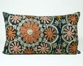 Suzani Pillow - 50's Folkloric - Orange, Peach, Sage, Celadon and Gold - 12 x 20