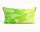 SALE - 40% OFF - Ombre Shibori Pillow - Vintage Floral Chartreuse and Bright Green  - 10 x 18