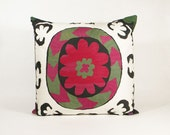 Vintage Suzani Pillow - Large White Whorl - 22 x 22