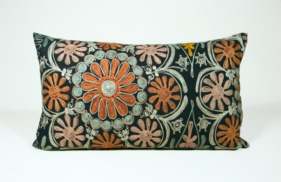 Suzani Pillow - 50's Folkloric - Orange, Peach, Sage, Celadon and Gold - 12 x 20