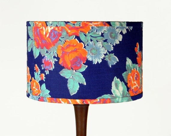 Russian Floral Lampshade - Orange Roses on Blue - 11 x 9