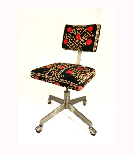 Suzani Office Chair - Blooming Pomegranate Tree - 1950's Black Velvet