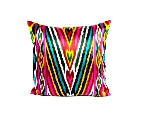 Vinatge Ikat Pillow - 1980's Vivid Center Stripes - 18 x 18