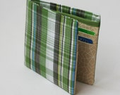Mens wallet, Wallet, Billfold, Vintage Upcycled Fabrics, Green Plaid, Handmade by Knotted Nest on Etsy