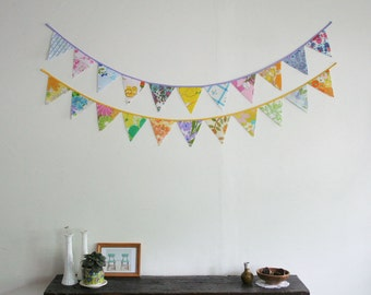 Large Triangle Bunting, Fabric Bunting, Banner, Eco Fabric Pennant, Upcycled Vintage Fabrics by Knotted Nest