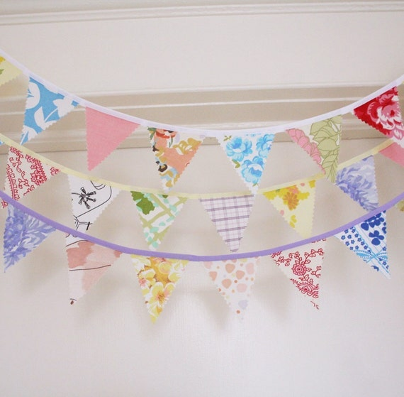 Fabric Bunting, Banner, Upcycled Vintage Fabrics, Vintage Lovelies, Handmade by Knotted Nest
