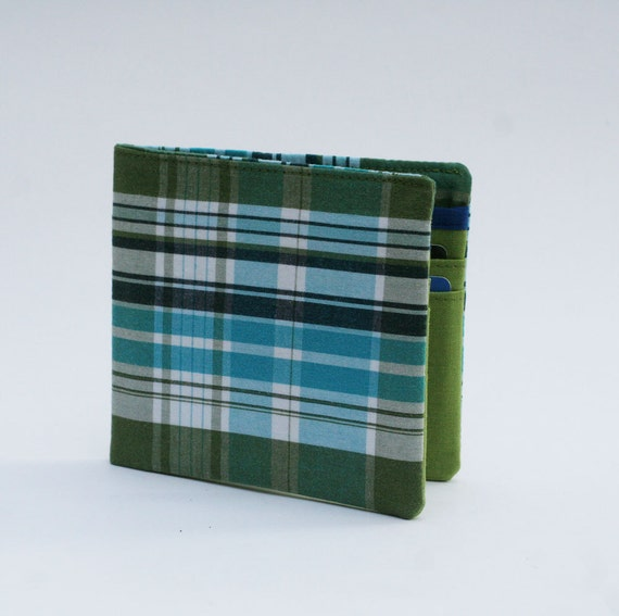 Mens wallet, Wallet, Billfold, Vintage Upcycled Fabrics, Spring Green Plaid, Handmade by Knotted Nest on Etsy