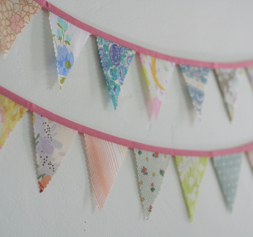 Fabric bunting banner baby shower decorations vintage for Baby themed fabric