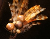 Elegant Feather Boutonniere Corsage Featuring Natural Toned Feathers