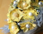 Map Your Love Bouquet ,DIY KIT  Yellow and Gray with feather accents
