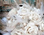 Off White Lace and Jewels - Vintage Inspired Ivory Bridal Bouquet