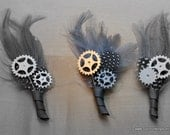 Gray and Silver 'Tinman' Gear and Sprocket Boutonniere, Steampunk