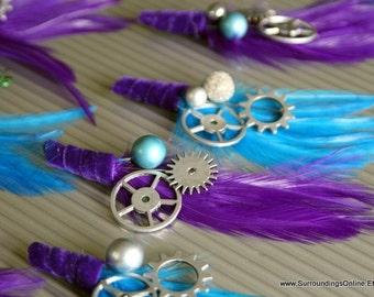 Purple and Aqua Gear Boutonniere