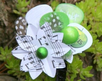Black, White, and Green All Over - 9 COLORS AVAILABLE Guitar Pick, Sheet Music Boutonniere