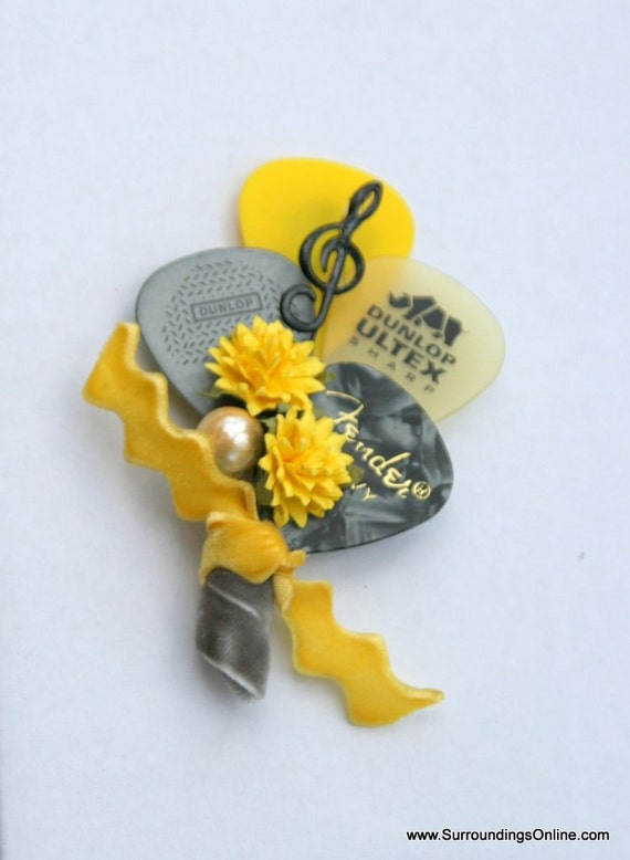 Yellow and Gray Guitar Pick Boutonniere - Choose Color