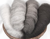 Shetland Black to Grey Ombre Batts - 4 ounces