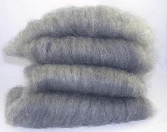 Grey Shetland and Black Alpaca Batts - 4 ounces