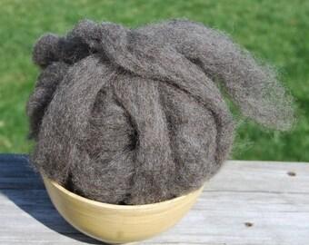 Brenna's Grey Black Shetland Roving - 4 ounces