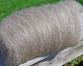 Brown Shetland and Mulberry Silk Batts- 4 ounces