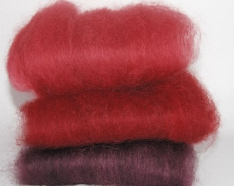 Masham Reds & Purple Spinning Batts - 3 ounces