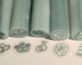 Set of 5 - Wedding Bride Polymer Clay Canes Nail Art
