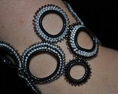 CLEARANCE 30% OFF - Originally 30.00 Beaded Bubble Bracelet, Hand made beaded bracelet Black and Gray