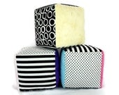 Minky Fabric Soft Blocks  Plush Stuffed  Black and White Polka Dots Stripes Striped Set of Three Choose Your Minky Color