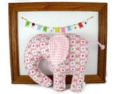 Stuffed Elephant - Plush Animal Baby Toy - Pink - Minky Plush
