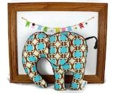 Stuffed Animal  Plush Elephant Softie  Blue and Brown  Organic Cotton  Minky