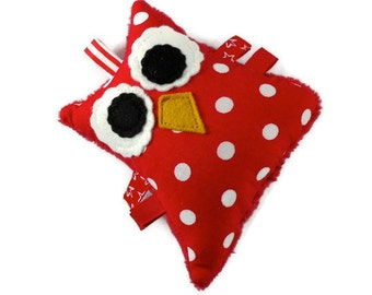 Polka Dot Owl Plush Rattle Baby Toy Small Stuffed Owl Minky Red White