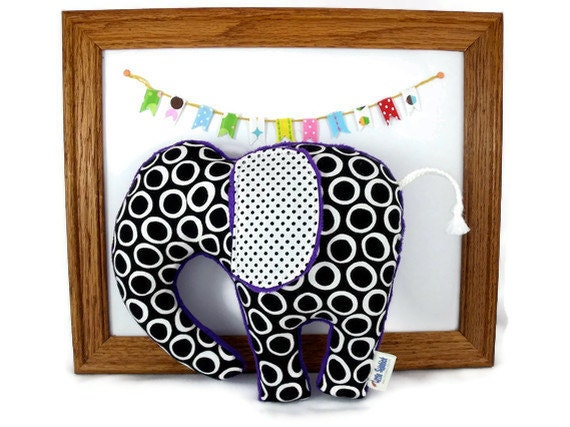 Stuffed Elephant - Plush Animal - Black and White Circles and Dots - Choose Your Minky Color