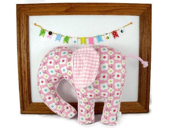 Stuffed Elephant - Plush Animal Baby Toy - Pink - Minky Plush
