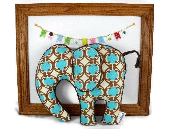 Stuffed Animal Plush Elephant Softie  Blue Brown  Organic Cotton Ready to Ship