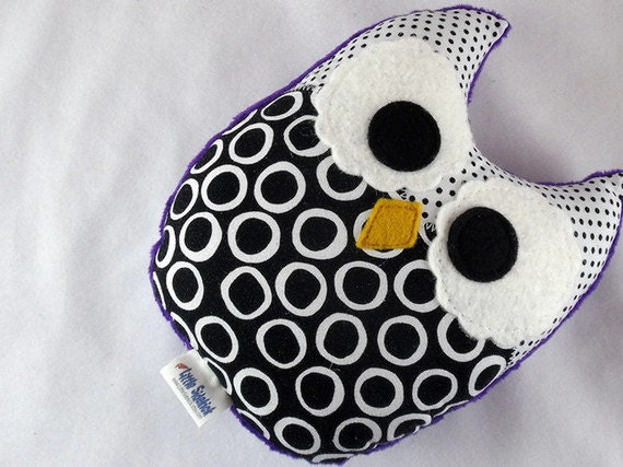Owl Plush Baby Toy Minky Softie Mini Pillow Black White Polka Dots Purple