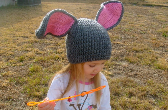 Floppy Bunny Ears Crochet Beanie---Other Color Combinations Availanle--reserved listing