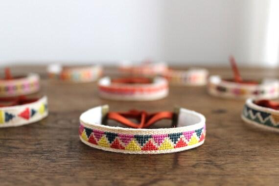 embroidered linen bracelet