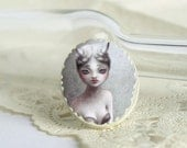 Human Horn - ivory cameo, paper brooch - oval circus pin art jewelry