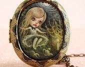 Down the rabbit hole - Alice in Wonderland locket  - solid perfume - rose - original cameo painting by KarolinFelix