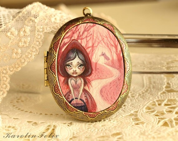 reserved for Kait - Little Red Riding Hood. cameo locket with original miniature. fairy tale jewelry by KarolinFelix