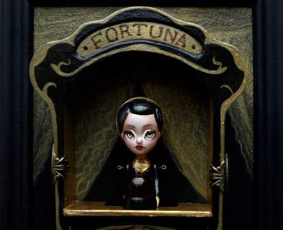 Fortuna - antique fortune teller automata - curiosity cabinet  - vintage style miniature art doll with display by KarolinFelix