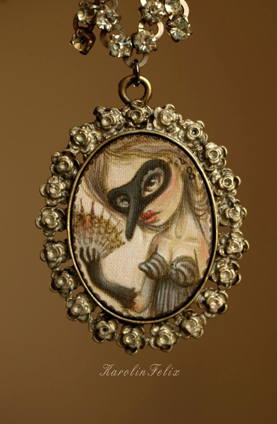 reserved for Kristen - Fetish - the Masquerade. pin up girl - original miniature painting on canvas,art cameo necklace by KarolinFelix