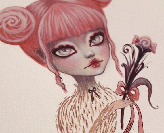 reserved for Nicky - Nina - Candy Secrets. original mixed media painting. sweet Big eye art. pink pop surrealism by KarolinFelix