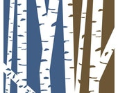 Birch Tree Forest - Blue and Brown Modern Art Print 8 x 10 inch