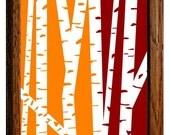 Modern Birch Trees - Orange and Maroon Red 8 x 10 print
