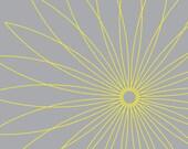 Yellow Geometric Spiral Flower on Gray Background - 8x10 inch art print
