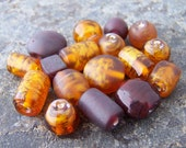 Last One - 96 - Assorted Brown Glass Beads Mixed Shapes, Sizes, Colors - Bulk