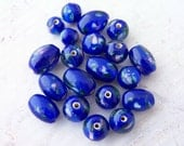 Last Ones - 108 - Cobalt Blue with Pink Flowers Glass Beads Round Mix