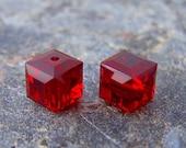 Last One - 5 - Siam 6mm Cube Swarovski Crystals
