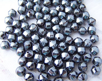 Super Sale! Last one - 40 - Hematite 5x5mm Double Cone Beads
