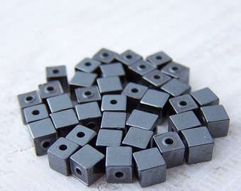 Super Sale! Last one - 50 - 3mm Cute Little Hematite Cube Beads